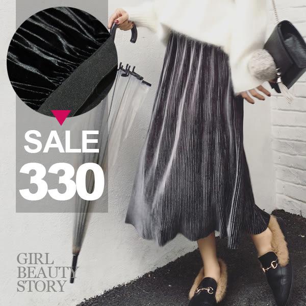 SISI【P6062】簡約高腰燈芯絲絨中長款百褶半身長裙
