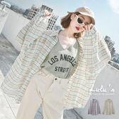 LULUS-C澎袖配色格紋襯衫-2色  現+預【01032086】