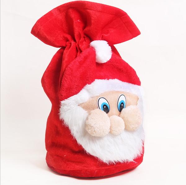 聖誕裝飾品 聖誕高檔老人禮物袋 聖誕金絲絨老人臉禮物袋─預購CH2438