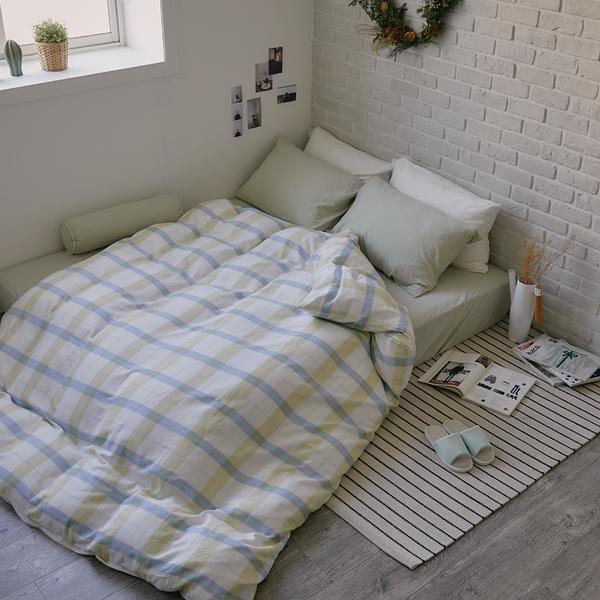 《預購》長絨棉 床包被套組(薄被套) 特大【萊姆格格 x 淺草綠】色織雙層紗 自由混搭 翔仔居家