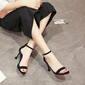 高跟鞋 - 細跟涼鞋簡約一字扣露趾中空黑色羅馬女鞋8cm高跟鞋【韓衣舍】