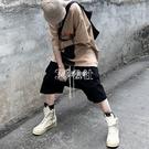飛鼠褲黑衣先生 美式歐美高街抽繩吊襠褲短褲男寬鬆口袋垮褲嘻哈個性潮