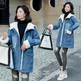 牛仔外套加絨牛仔外套女冬季新款韓版寬鬆加厚中長款拼接羊羔毛棉服女 扣子小鋪