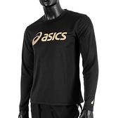 Asics T-Shirts [2033B129-001] 男 長袖 T恤 運動 透氣 排汗 吸濕 快乾 抗UV 黑金