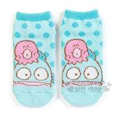 〔小禮堂〕海怪 成人保暖襪《藍.大臉.章魚》23-25cm.短襪.絨毛襪 4901610-76167