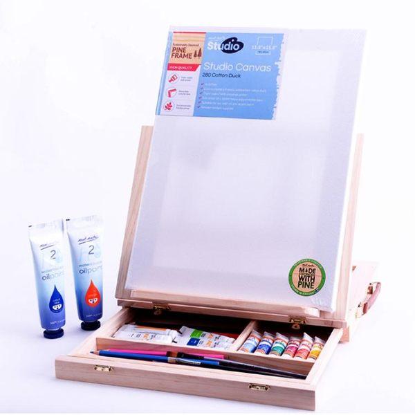 桌面臺式畫架畫板木制抽屜折疊水彩畫架油畫箱素描寫生畫板igo 全館免運