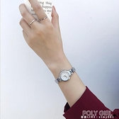 ins風銀色手練式手錶女練條細帶小巧精致女士簡約氣質學生小錶盤 poly girl