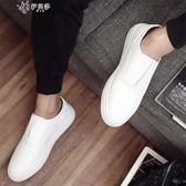 小白鞋夏季樂福鞋韓版懶人一腳蹬男鞋         伊芙莎