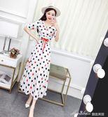 韓版氣質波點短袖V領上衣 高腰半身裙兩件套套裝    蜜拉貝爾