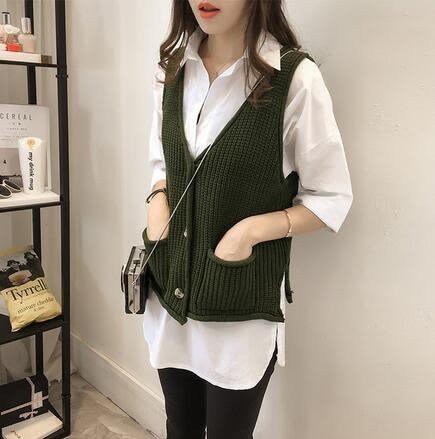 【TU20】秋裝針織馬甲背心 韓版寬鬆口袋純色毛衣 短版上衣7082