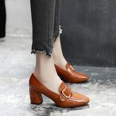 粗跟秋鞋2018新款春季單鞋女復古方頭英倫風女鞋高跟小皮鞋中跟鞋