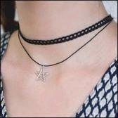 5天出貨★蕾絲花邊彆致五角星星雙層項鏈★ifairies【29617】