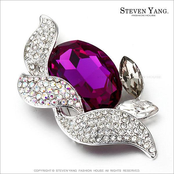 STEVEN YANG【KCD0013】正白K飾「華麗奪目」水晶別針胸針 桃紅 母親節禮物