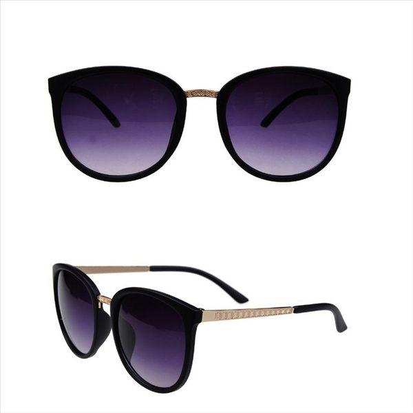 現貨-韓版ulzzang時尚百搭太陽眼鏡女士太陽鏡歐美風圓形墨鏡時尚金屬鏡框太陽眼鏡 檢驗合格 抗U