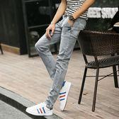 牛仔褲  夏季薄款彈力牛仔褲男士修身百搭長褲子男韓版潮淺色小腳褲男休閒 芭蕾朵朵
