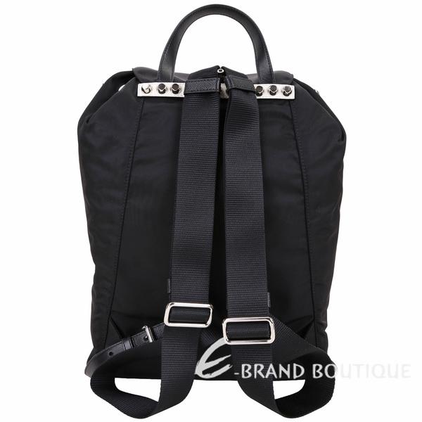 PRADA 火紅撞色皮革鉚釘單釦尼龍後背包(黑色) 1910166-01