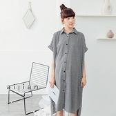 愛戀小媽咪 孕婦裝 簡約黑白細格紋長版襯衫洋裝