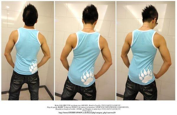 奢華壞男《 熊掌限量款 - 超舒適彈性合身背心 (藍底滾白邊) 》【S / M / L / XL / XXL】(潮T、上衣)