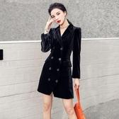 OL洋裝 禮服裙秋冬黑色絲絨中長款修身長袖復古雙排扣西裝外套女T350C快時尚