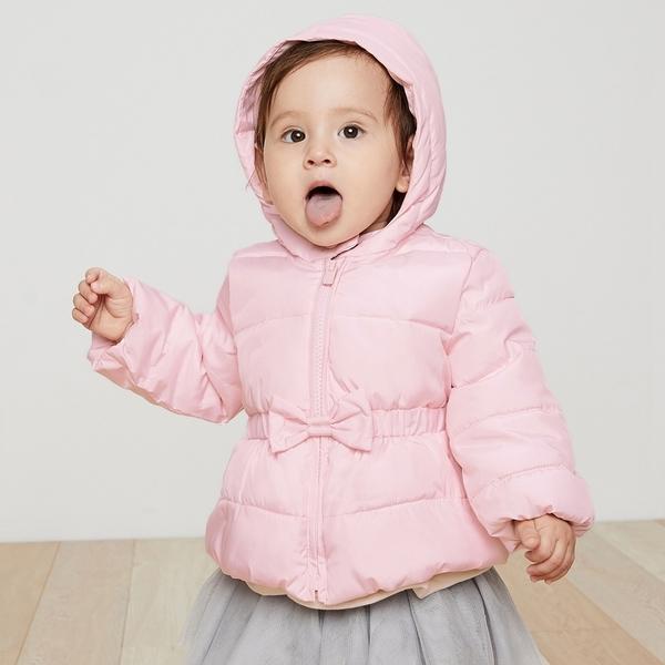 Gap嬰兒 保暖活力花卉連帽棉服 382853-粉色
