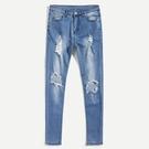 新品特惠# 跨境男士牛仔褲大破洞男裝外貿修身微彈男式百搭牛仔男式長褲