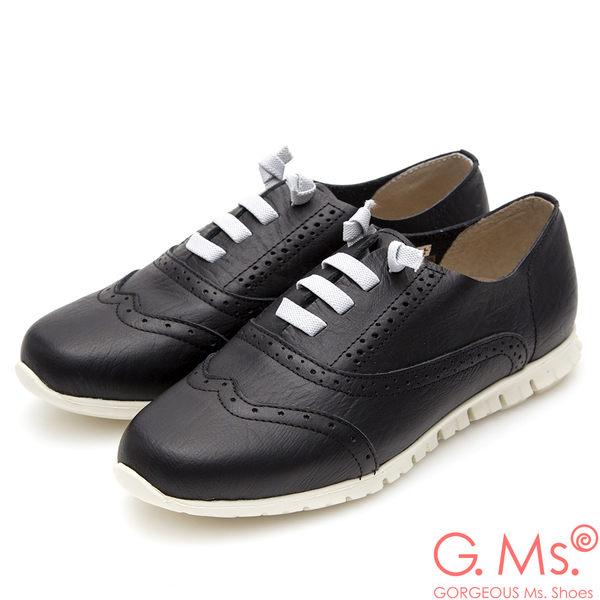 G.Ms. MIT超軟Q系列-牛津雕花假綁帶懶人鞋*黑色