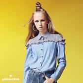 【SHOWCASE】雙色拼接小荷葉露肩條紋襯衫(藍)