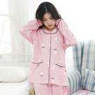 居家棉柔排釦長袖成套睡衣 甜系櫻桃 2022(粉)-Pink Lady