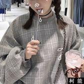 上衣【8300】秋裝女裝學院風Bf寬鬆加厚格子長袖套頭毛呢衛衣外套學生上衣 女生衣著