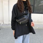 ins超火胸挎包新款超模同款時髦帥氣鍊條黑色腰包斜挎包胸包