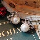 【NiNi Me】夾式耳環 氣質甜美水鑽蝴蝶結珍珠夾式耳環 夾式耳環 E0015