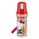 日本 紅色格紋 HELLO KITTY 彈蓋直飲式 超輕量不鏽鋼水壺470ml (1633) -超級BABY