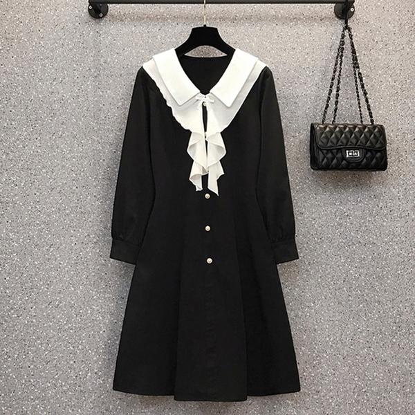 *ORead*韓版大碼拼接顯瘦連身裙(黑色L~4XL)