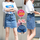 BOBO小中大尺碼【5510-3】寬版下擺不規則牛仔短褲短褲裙 S-5L 共色 現貨