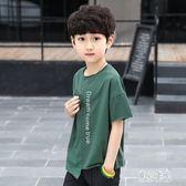 童裝男童字母印花短袖t恤2019夏裝新款中大兒童半袖衫xy1830『東京潮流』