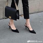 一字扣帶尖頭高跟鞋細跟側空女涼鞋性感法式小單鞋韓版百搭新款女 雙十二全館免運