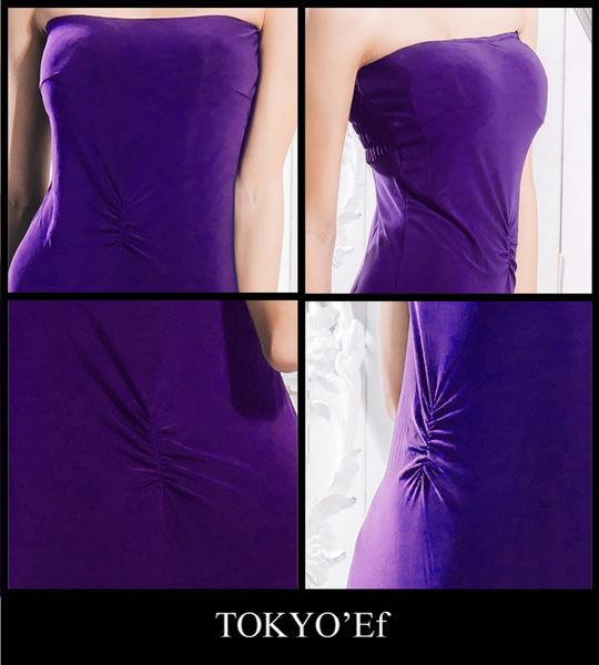 東京衣服 埃及豔后 平口腹部抓皺合身長禮服 深紫