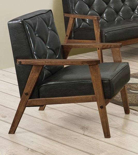 【森可家居】提爾胡桃單人黑皮沙發(單只) 7JF170-1 實木 LOFT復古工業風 一人座椅
