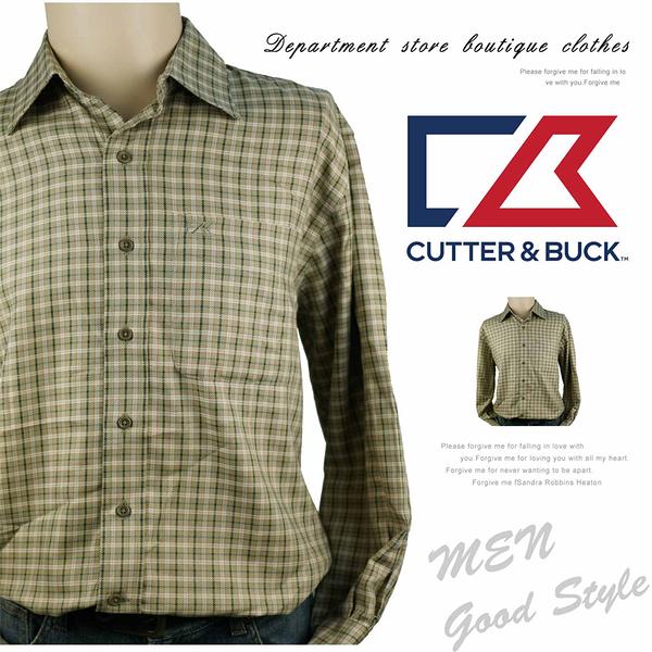 【大盤大】CUTTER& BUCK 長袖襯衫 S/P號 格子襯衫 休閒 口袋 百貨專櫃 節日 薄襯衫 爸爸 線條