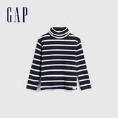 Gap男幼童 簡約風格純色高領長袖T恤 617808-海軍藍條紋