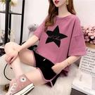 兩件套裝 網紅跑步運動套裝女夏新款大碼寬鬆顯瘦短袖闊腿褲鬆緊短褲兩件套 小天使 618