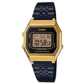 【CASIO】 魅惑帝姬復刻不鏽鋼電子錶-黑X金(LA-680WEGB-1A)