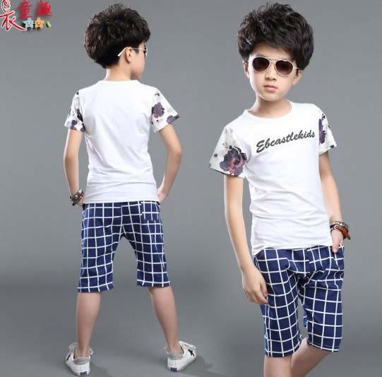 衣童趣 ♥韓版 中大男童 花朵袖子圓領上衣+格紋短褲 帥氣休閒款套裝