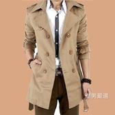 秋季新品風衣男中長版正韓修身學生外套青少年大衣休閒大碼男裝