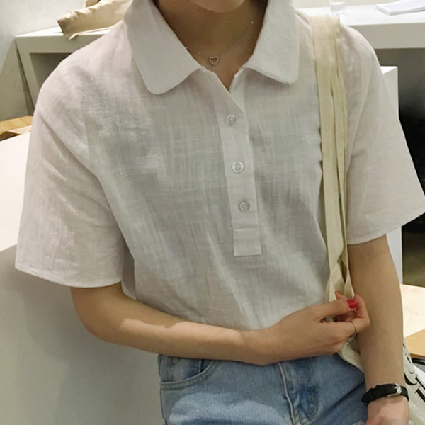 現貨-棉麻衫-純色POLO衫翻領短袖棉麻衫 Kiwi Shop奇異果0511【SOG6876】