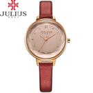 JULIUS 聚利時 濃情時刻水鑽刻度皮錶帶腕錶-紅色/32mm 【JA-935D】