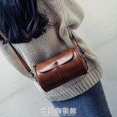 森系復古圓桶包包韓版時尚女包簡約定型單肩斜背包潮 米蘭潮鞋館