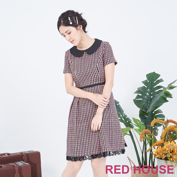 【RED HOUSE 蕾赫斯】小圓領毛料洋裝(粉色)