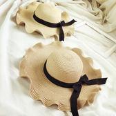遮陽帽  出游沙灘蝴蝶結波浪邊大沿草帽韓版防曬太陽帽