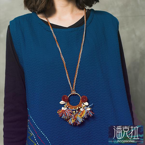 彩色毛線圓環編織項鍊-隨機【潘克拉Accessories】